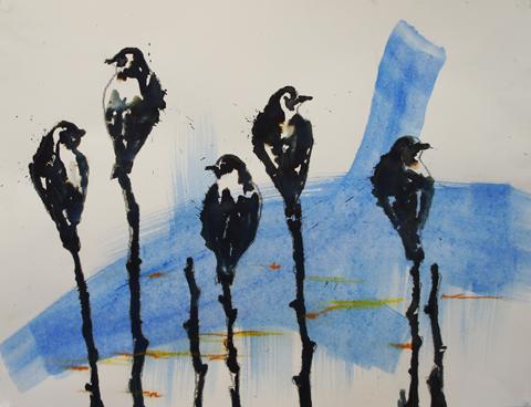 Carlos Perez, Birds, Tusche und Ölkreide auf Papier, 65x50cm, 2017