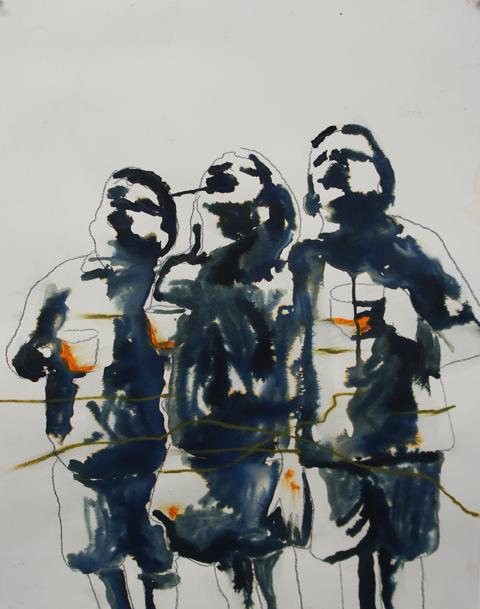 Carlos Perez, der Tee, Tusche und Ölkreide auf Papier, 65x50cm, 2017