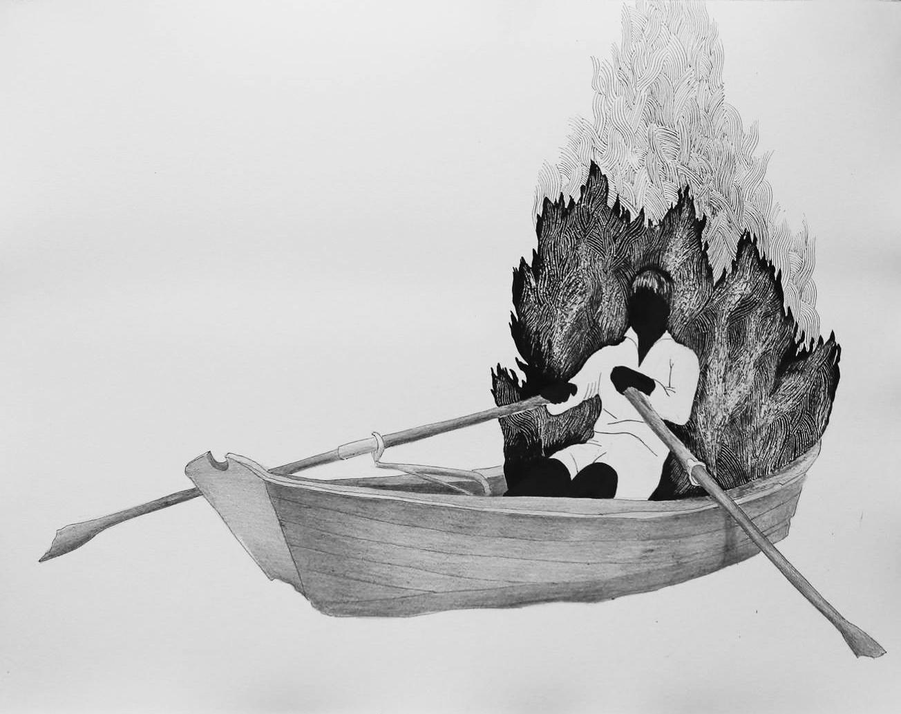 Maria Corejova, Days of Anger, 64x50 cm, Tusche auf Papier, 2016