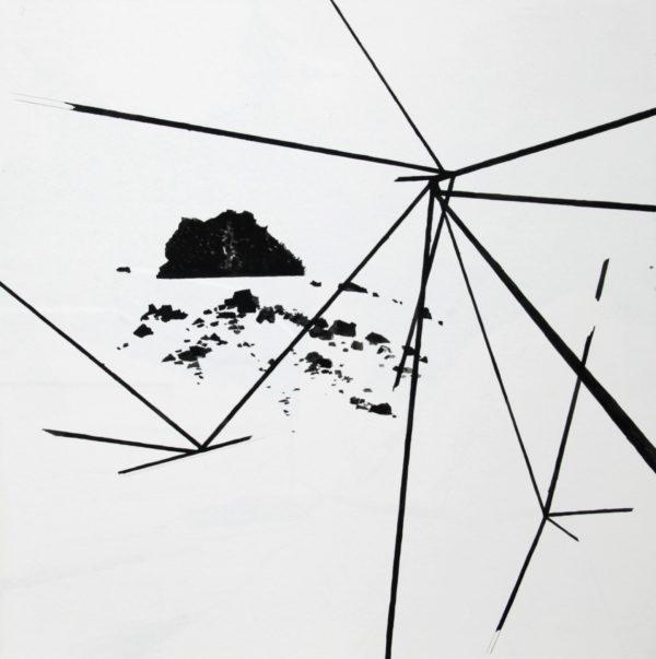 Pawel Mendrek, Pile of Earth, Gouache on board, 50x50cm/ box frame, 2017