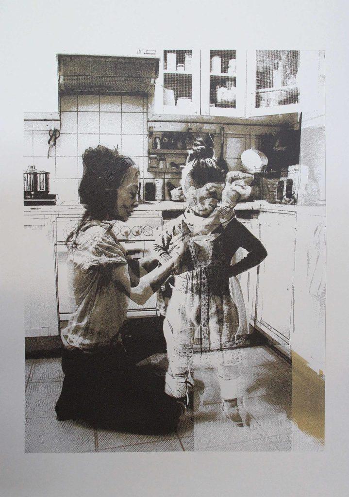Sabine Galdberger, golden hours, kitchen Siebdruck 100x70 cm, edition 1/8, 2016