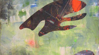 Andreas Orsini-Rosenberg, cardboard tiefsee grün, 2016, collage and acryl on cardboard, 71x102cm