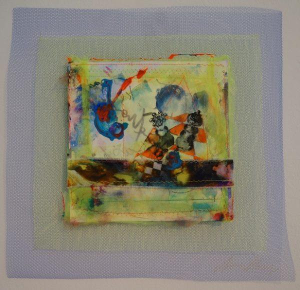Dame - König : Spiel (Coming Home From Dreamland), Aquarell, Acryl, Gouache, Tusche, Farbstift, Marker, Lidschatten auf Papier und Textil, 20,5 x 20,5 (34,5 x 34,5) cm, 2015-2017
