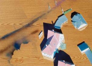 Felix Malnig, Überschwemmung, Collage, Öl, Lackspray auf Holz, 46 cm x 64 cm, 2015; (inkl. Rahmen)