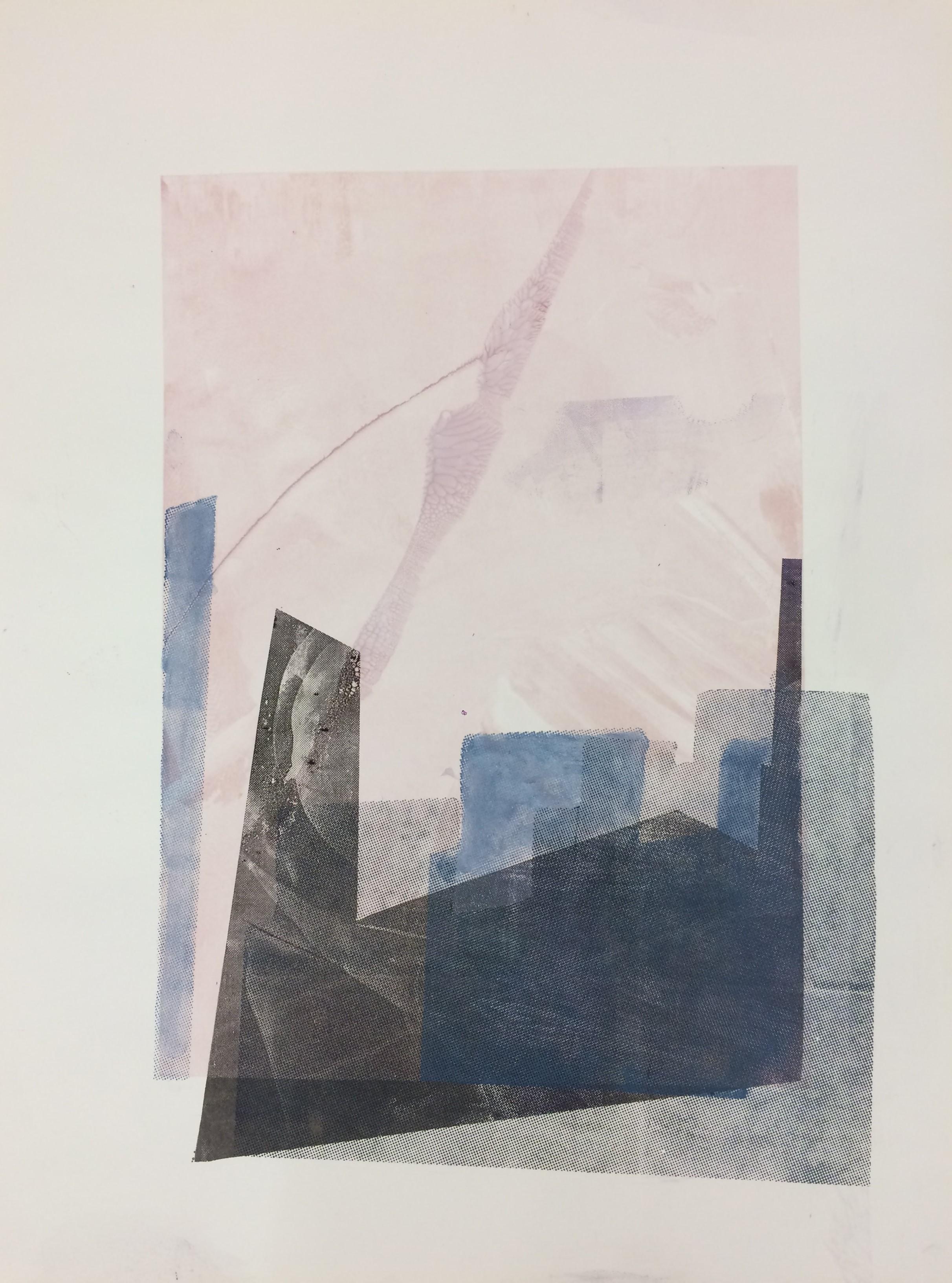 Katharina Moser, Sunrise City Structures 1, 45x60cm, Siebdruck, 2017 (mit Rahmen, entspiegeltes Glas)