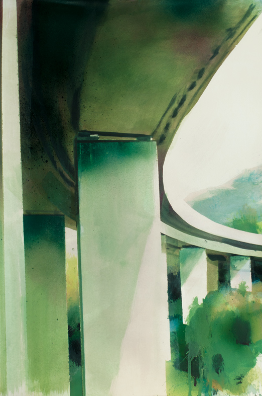 Felix Malnig, Tauern-Autobahn, Acryl und Lackspray auf Papier, 56 cm x 38 cm, 2017 (Rahmen 70 cm x 50 cm)