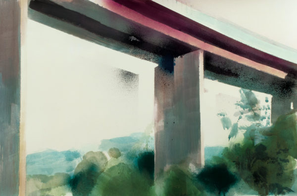 Felix Malnig, Tauern-Autobahn, Acryl und Lackspray auf Papier, 38 cm x 56 cm (Rahmen 50 cm x 70 cm), 2017
