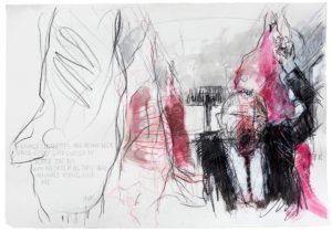 Jakob Kirchmayr, Riding with me, 2016, 47 x 67 cm, Farbstift, Acryl auf Papier