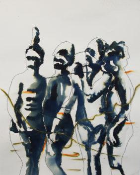 Carlos Perez, The Bathers, Tusche und Ölkreide auf Papier, 65x50cm, 2017