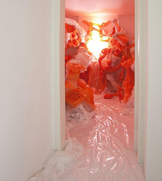 Keiyona Stumpf, Heyday, 2014, Rauminstallation, Leim, Pigment, Plastickfolie, Lack, künstliches Licht