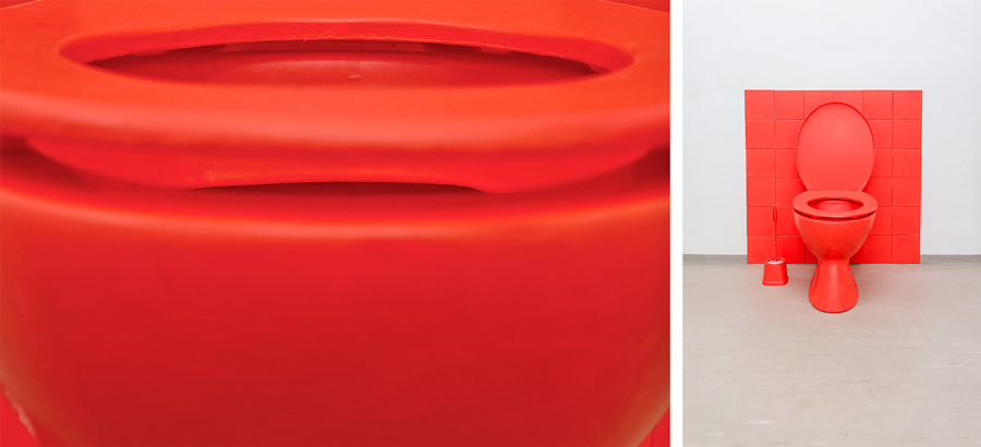 Jelena Micic, FARBENLEHRE, Rot, 2016, Readymade (toilet, seat, brush, paint), 90x90x60cm, ©Ira Tomić ©Igor Ripak