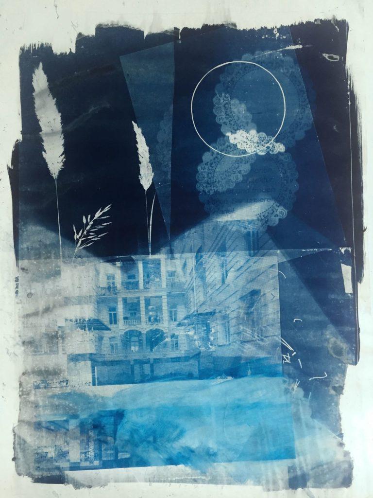 Michael Wegerer, Along the Way to Utopia, Cyanotypie, Siebdruck, 100x150cm, 2018, (c) Michael Wegerer