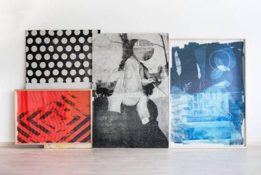 "Michael Wegerer, ""418"", Assemblage, Siebdruck, Gipsplatten, Glas, Papier, 300x150cm, 2018 (c) Michael Wegerer"
