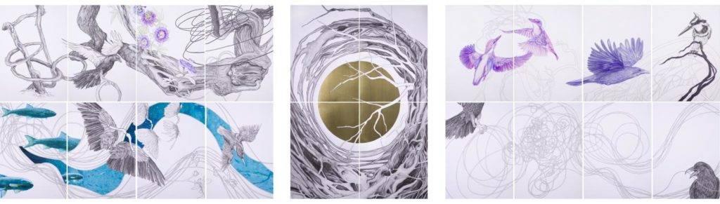 Birgit Pleschberger, Earth, 2017, Polyptychon, sechsteilig, 70x600cm, je 70x100cm, Nero und Buntstift auf Papier