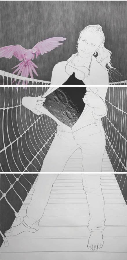 Birgit Pleschberger, Searching for Neverland, 2014, Zeichnung und Collage, je drei Teile, 210x100cm