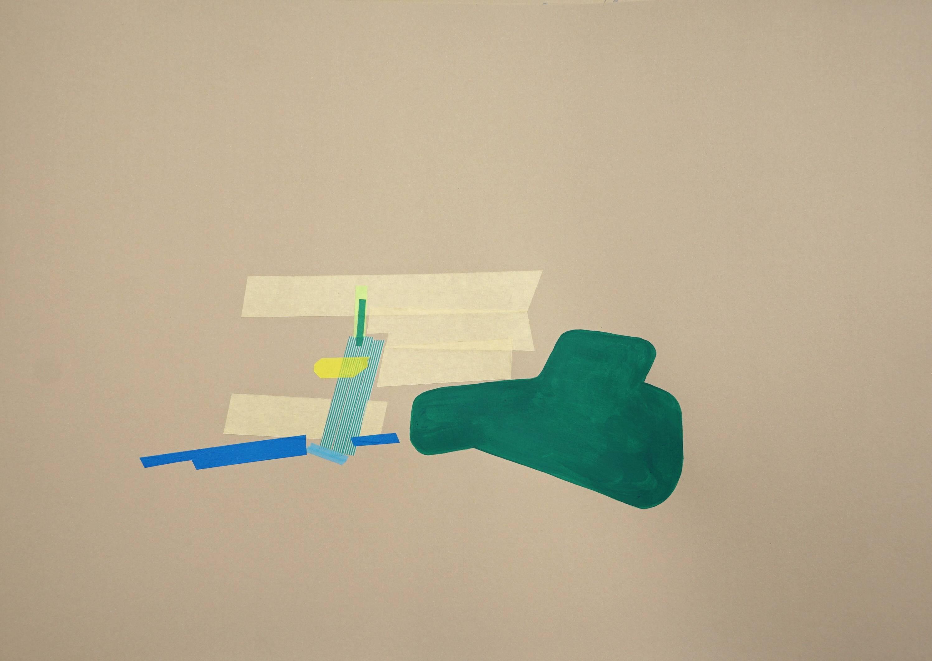 Petra Gell, Serie 'Pêche de vigne 3', Mixed media auf Papier, 50x70, 2018