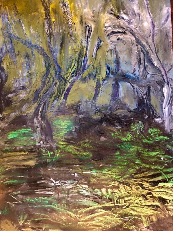 Katharina Moser, creeping mist in the forest, Öl/Papier, 70x100cm, 2020