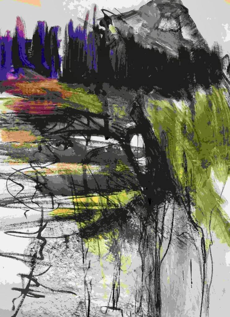 Katharina Moser, the high forest, Öl/Papier, 70x100cm, 2019