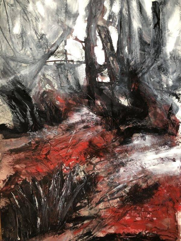 Katharina Moser, awakening of the red soil, Öl/Papier, 70x100cm, 2020