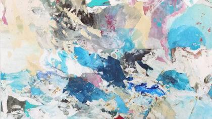 A little stormy on the other side, 2021, Collage/Decollage auf Leinwand, Papier, Öl, Acryl, Aquarell und Buntstift, 100 x 80 cm