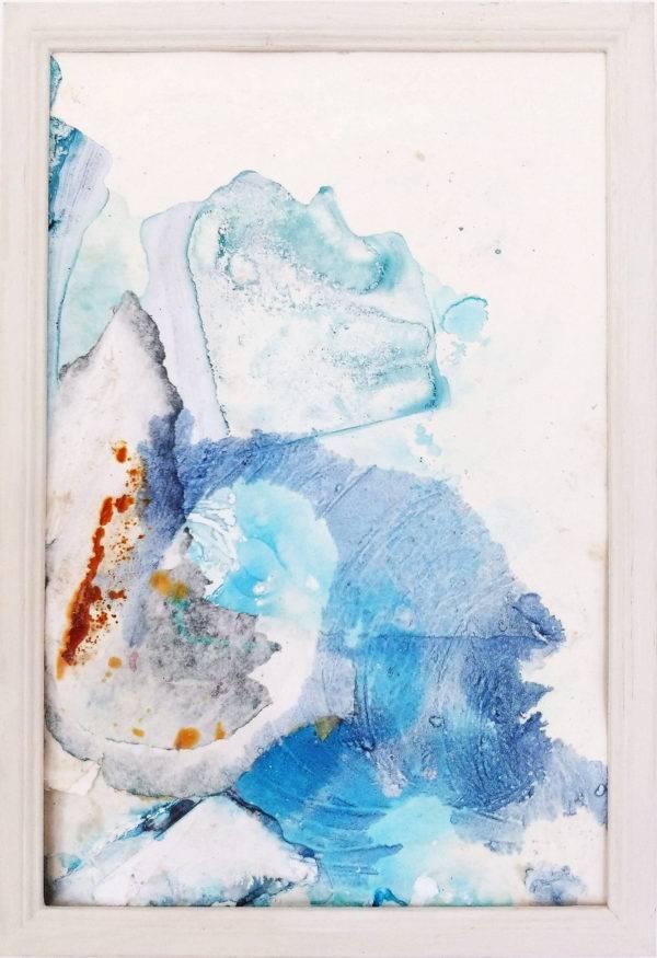 Icy like Blossoms, 2021, Collage/Decollage, Acryl, Rost auf Papier, 32 x 22 cm (gerahmt)